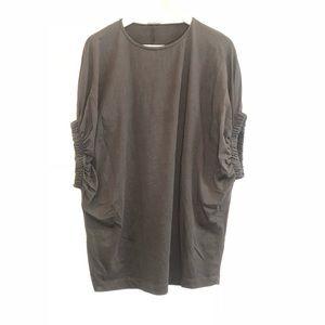 Zara W B Black Solid Short Sleeve Shirt Sz Small